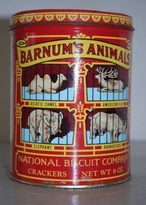 Tak przez wiele lat wyglądały ilustracje na pudełkach z krakersami Barnum's Animals