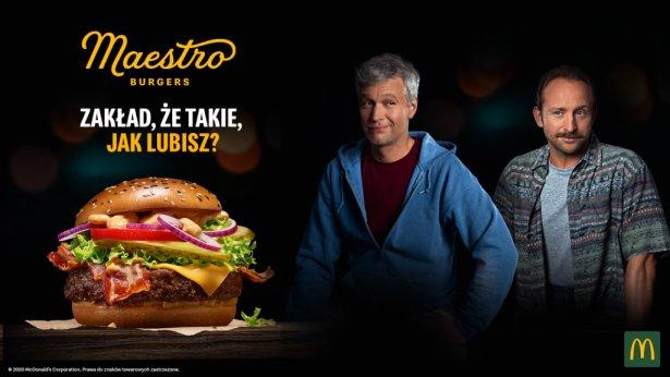 Michał Żebrowki i Borys Szyc w kampanii burgerów Maestro. Zdjęcie: materiały prasowe.