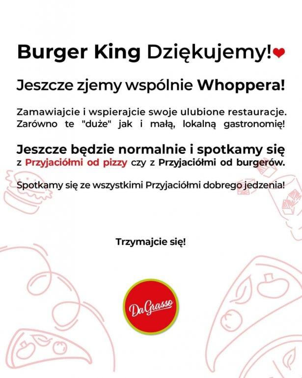 Sieć DaGrasso dziękuje Burger Kingowi. Zdjęcie: Facebook.com