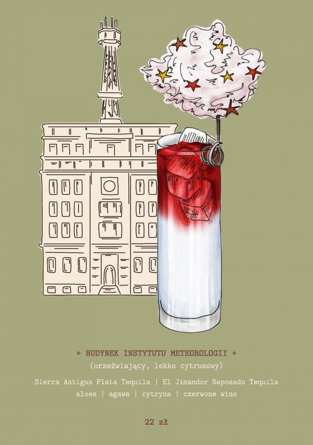 Karta koktajli z baru Luis Mexicantina, inspirowana architekturą Gdyni. Ilustracja: Martyna Brechelke